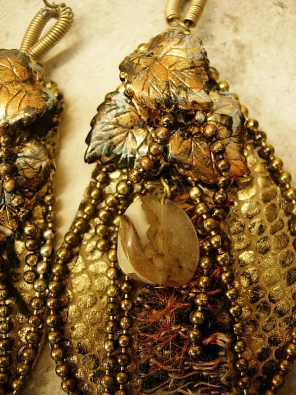 From the Earth Snake skin earrings agate and fiber LONG 4 3/4