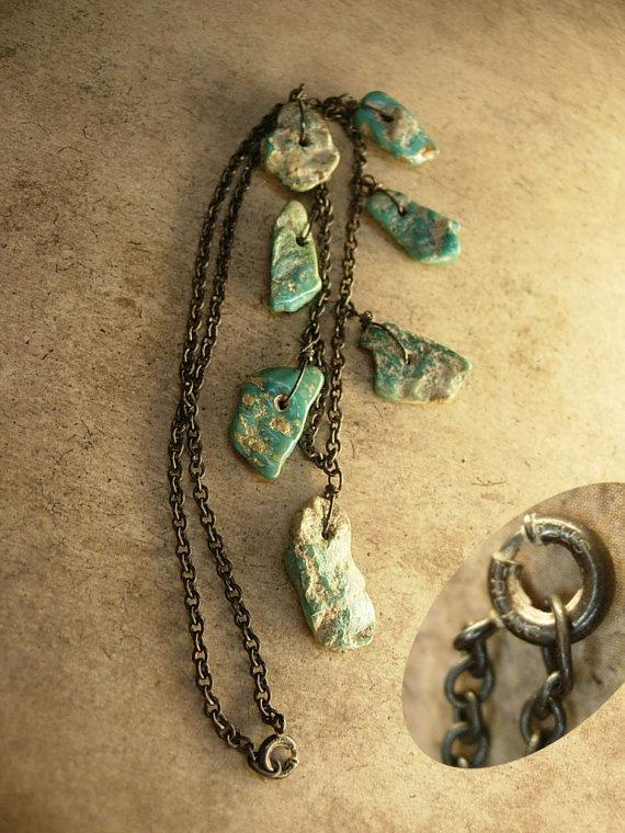 VIntage INdian Nugget sterling necklace Primitive work