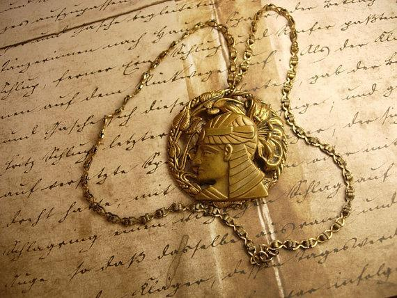Vintage Egyptian revival Pharaoh Head necklace bookchain
