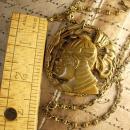 Vintage Egyptian revival Pharaoh Head necklace bookchain