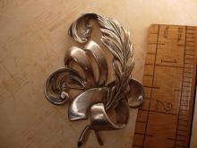 HUGE sterling feather Brooch Musketeers or Gothic Hallmarked