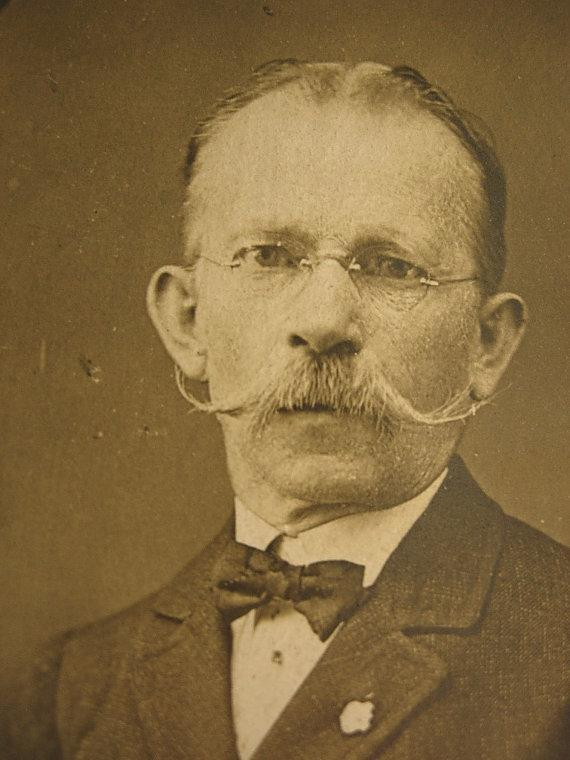 ANtique photo handlebar moustache gentleman with fraternal pin & handkerchief wireframe glasses INTERESTING history