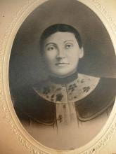 1800's antique photo Young woman with make up and brooch Folk art Flair cabinet card photo