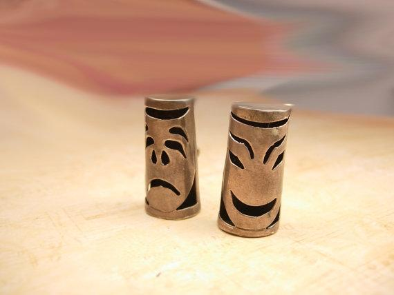 Vintage Earrings Bizarre Ghoulish  sterling Chinese Totem mask  Drama faces hallmarked
