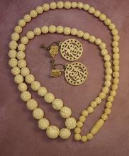 ANtique ivory necklace Carved Ivory earrings LONG necklace with Barrel clasp
