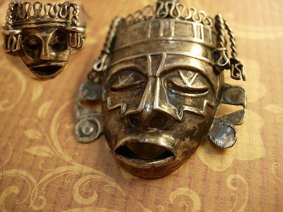 Vintage Shrunken HEad brooch Mask Ring Sterling signed Mask Voodoo set