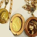 Victorian Man in the Moon locket necklace with real pearls and nymph print inside