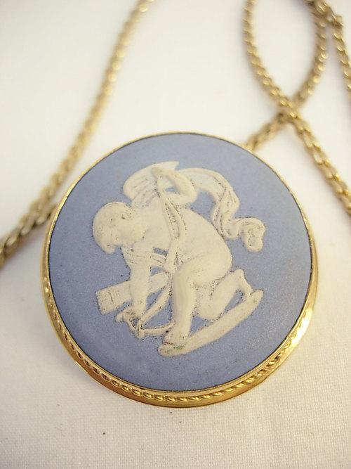 Vintage Wedgwood cherub necklace brooch made in England cupid jasperware angel