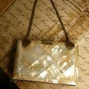 Antique Mother of pearl calling card case with original silk case