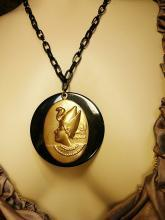 VIntage Egyptian revival Cleopatra necklace black and gold and dramatic snake headdress