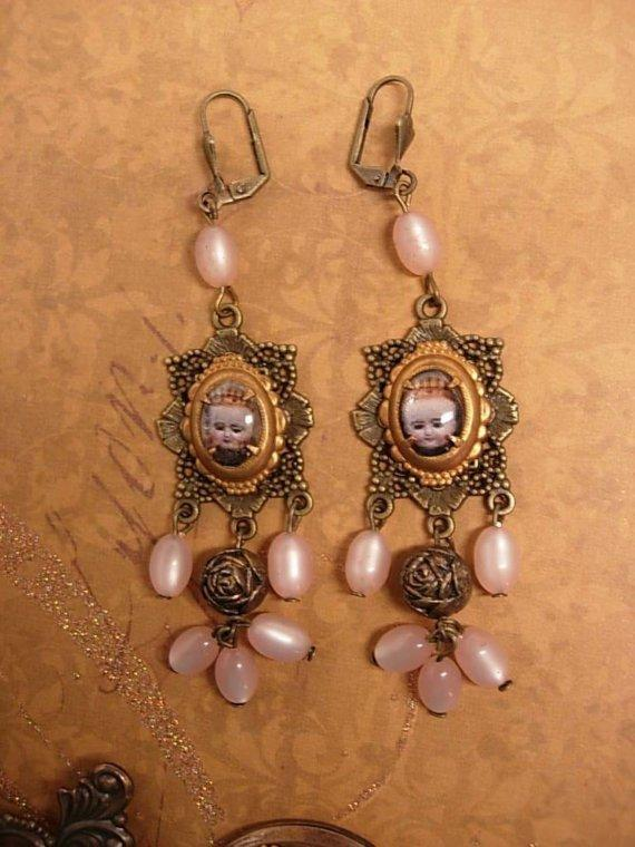 Rosary Earrings Religious Portrait under glass assemblage earrings