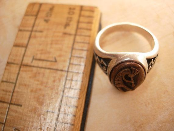 Vintage Signed Kokopelli Ring sterling native american Zuni silver and copper Kachina Dancer