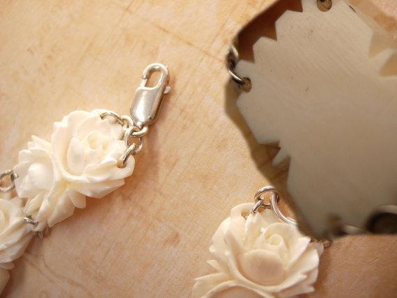 Vintage Carved Ivory Flower bracelet with sterling clasp