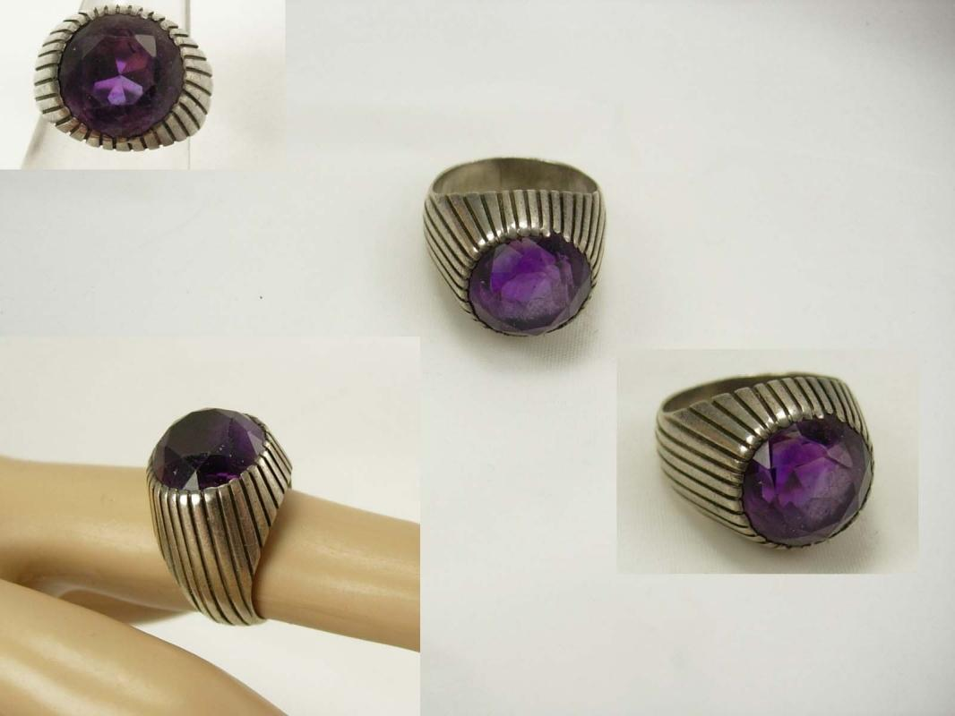 Art Deco Amethyst sterling ring Unusual design size 7