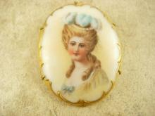 Antique Portrait brooch Hand painted 24kt gilt Porcelain cameo  with c Clasp