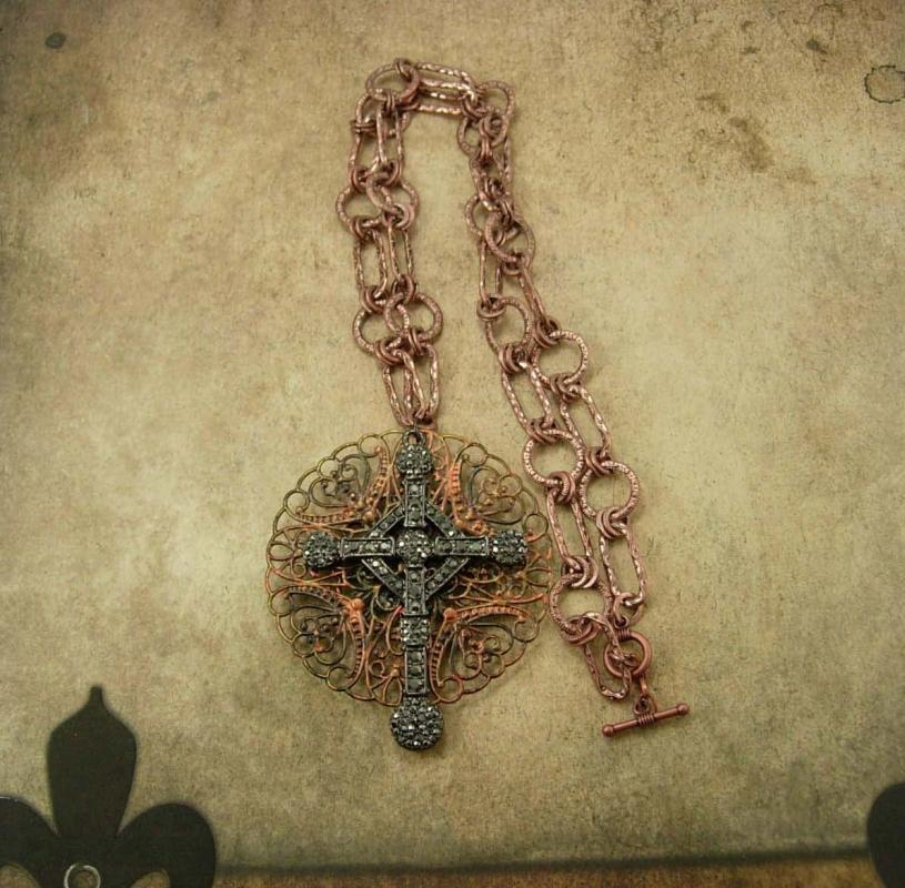 Medieval Marcasite Cross necklace Religious medal with Ornate Chain