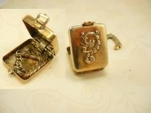 Antique Dragon Miniature Stamp or trinket box with hidden hanger
