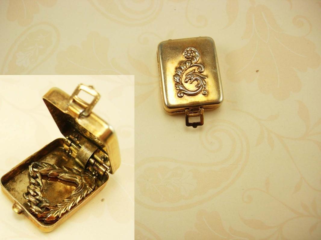 Antique Dragon Miniature Stamp or trinket box with hidden hanger