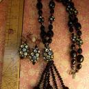 Vintage Hattie Carnegie Necklace earrings rhinestone egg BLack flapper glass beads