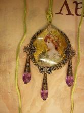 Victorian Goddess gold gilt necklace with long  purple drops