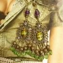 DRamatic Renaissance style genuine Amethyst and vintage Agate chandelier earrings