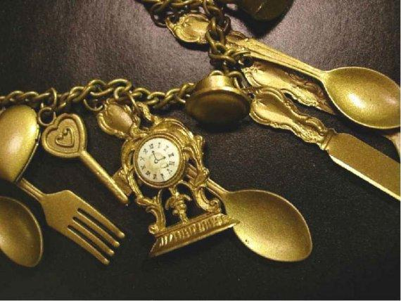 Whimsical mantle clock large folk art  skeleton key Locket charm pendant necklace