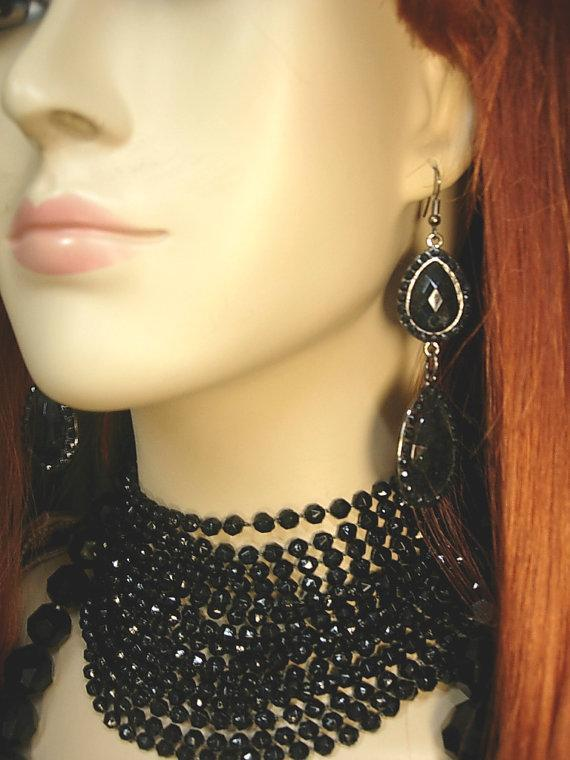 BLack Flapper necklace set 8 strand black beads with shoulder duster earrings and bonus necklace