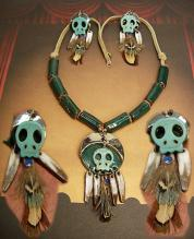 Primitive Indian Skull necklace & earrings terra cotta beads feather talisman