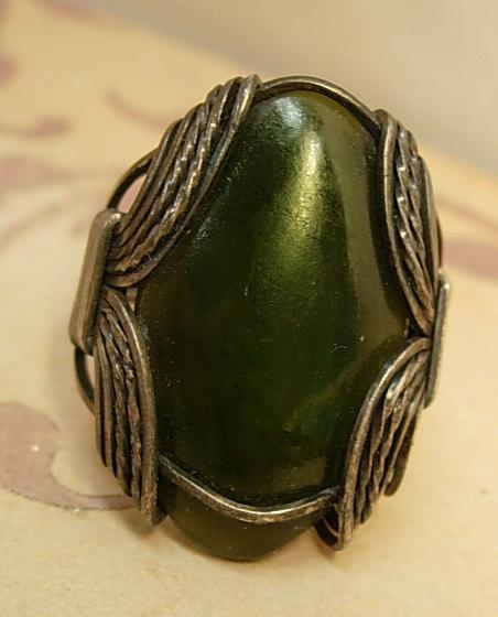 Vintage Medieval Green stone ring Huge gothic  setting