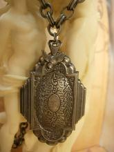 Sacred Dove Deco Locket NEcklace Saint d'Esprit Espirit dove Gunmetal chain Flapper portrait