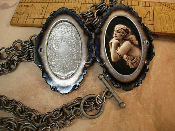 Sacred Dove Deco Locket NEcklace Saint d'Esprit Espirit dove Gunmetal chain Flapper portrait