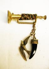 Victorian Bugle hunting Brooch with tooth and bird