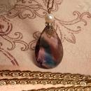 Vintage Purple glass Edwardian necklace MOST unusual drop