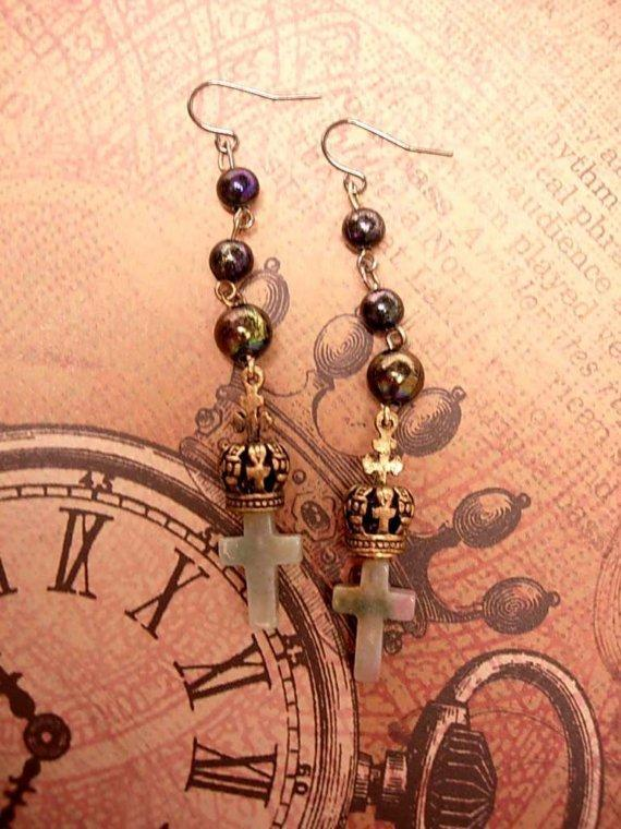 Gothic Rosary cross Earrings for the Queen Mum