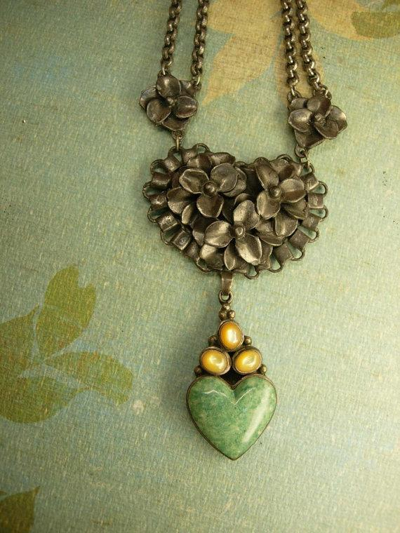 Antique Sterling Moonstone Heart Necklace Sweetheart malachite drop ornate chain