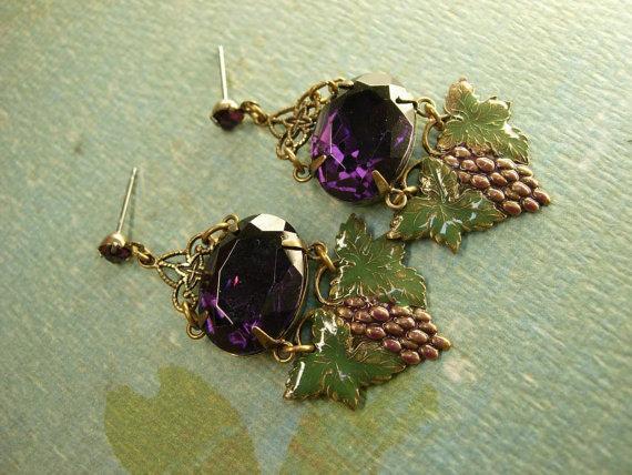 VIntage Goddess Gorgeous enamel and Purple chandelier Rhinestone earrings nouveau drops rhinestone studs