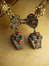 Vintage Chinese silver and coral etruscan fob earrings