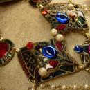 OOAK Signed Jeweled Enamel La Rage Necklace and Earrings