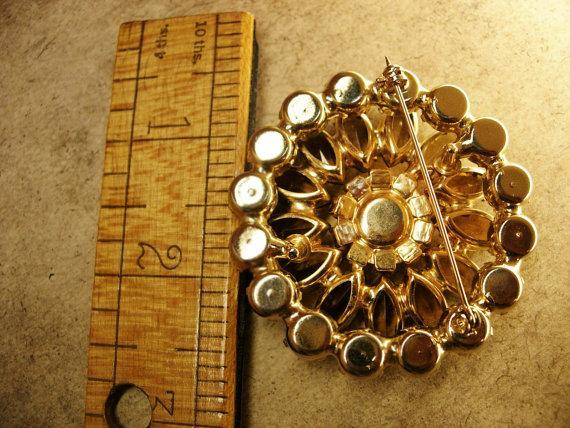 STUNNING Vintage Layered Juliana Brooch Marquise flower loaded with stones