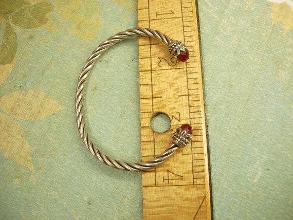 Vintage sterling garnet Byzantine bracelet rope cuff jeweled hallmarked