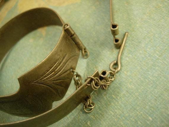 VIntage Indian Princess collar and bracelet set Etched metal necklace