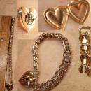 Vintage Military Sweetheart locket charm bracelet Rhinestone bracelet US Navy