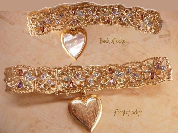 Vintage Deco Sweetheart locket fob bracelet Genuine gemstones amethyst citrine Peridot Blue Topaz
