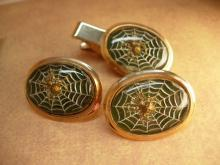 VIntage Spider Web Cufflinks with raised spiders Tie tack men's cufflink set