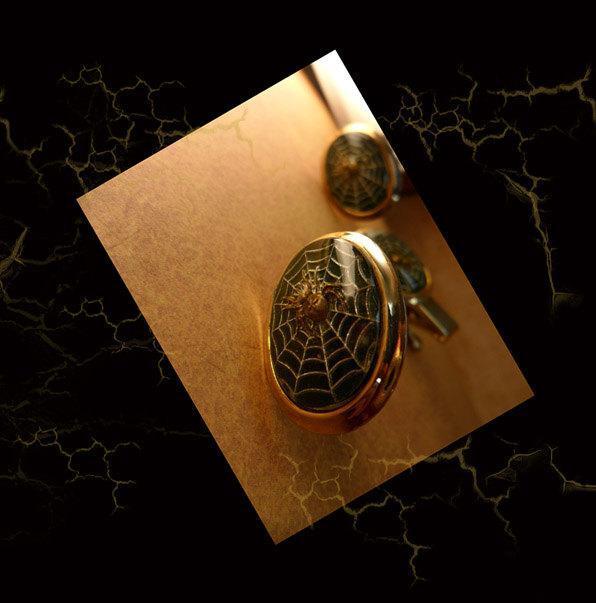 VIntage Spider Web Cufflinks with raised spiders Tie tack men's cufflink set