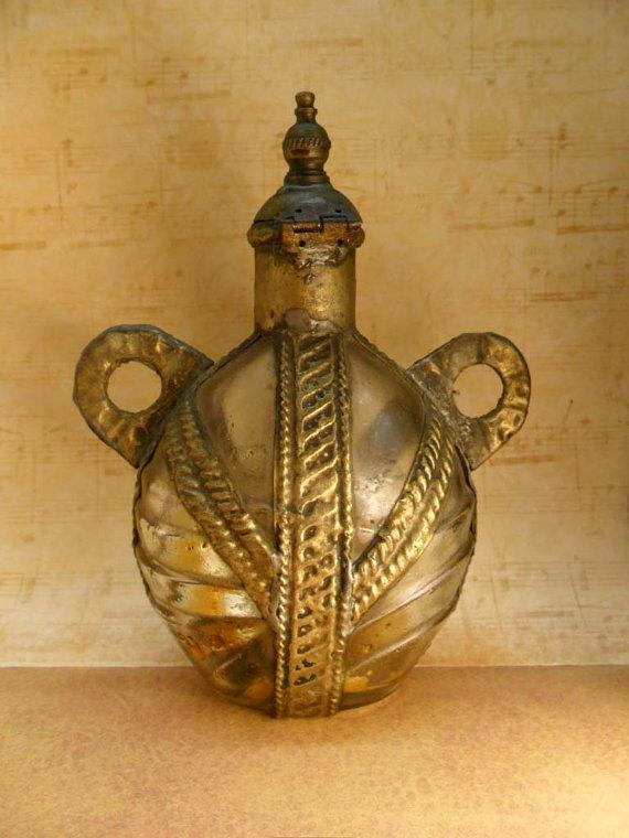 Medieval Gypsy Bottle hand wrought metalwork very primitive
