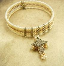 Gothic Pearl Rhinestone rhinestone cross Choker necklace