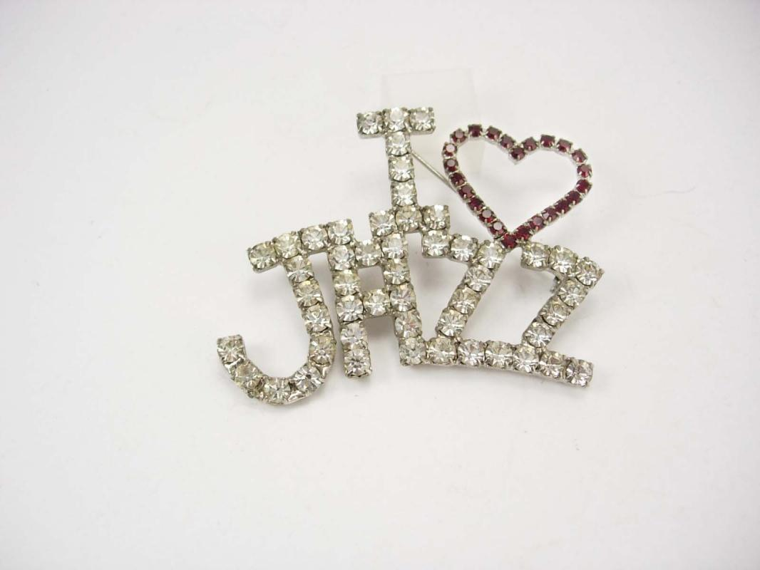 Vintage I LOVE Jazz Rhinestone Brooch huge stones Red and clear Music brooch