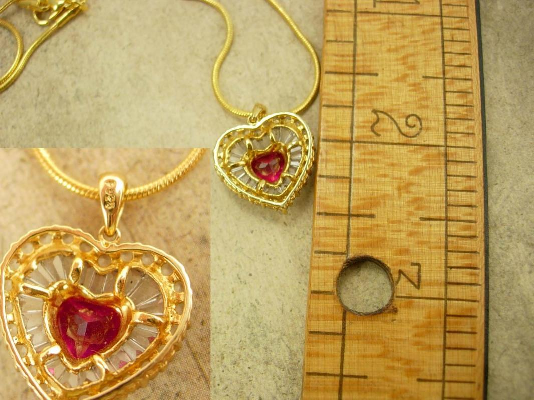 Gorgeous Vintage Ruby RHinestone pendant HEart with Baguettes necklace GOld sterling