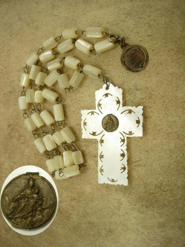 Vintage Mother of Pearl Rosary necklace Religious medals Sancta Francisca
